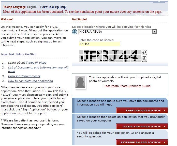 how to get US DS-160 visa application form