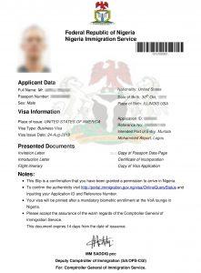 nigeria visa on arrival approval letter