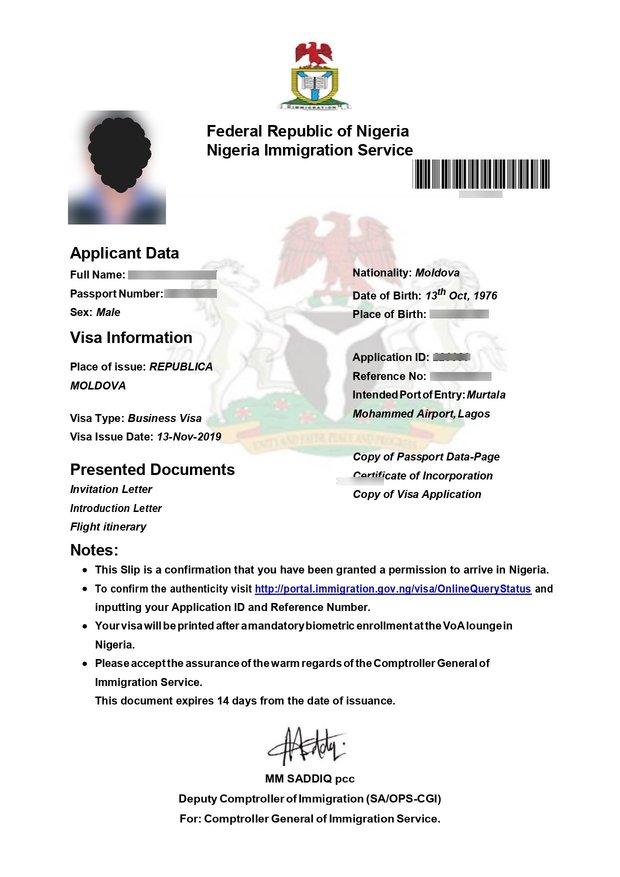 nigeria visa on arrival for moldova